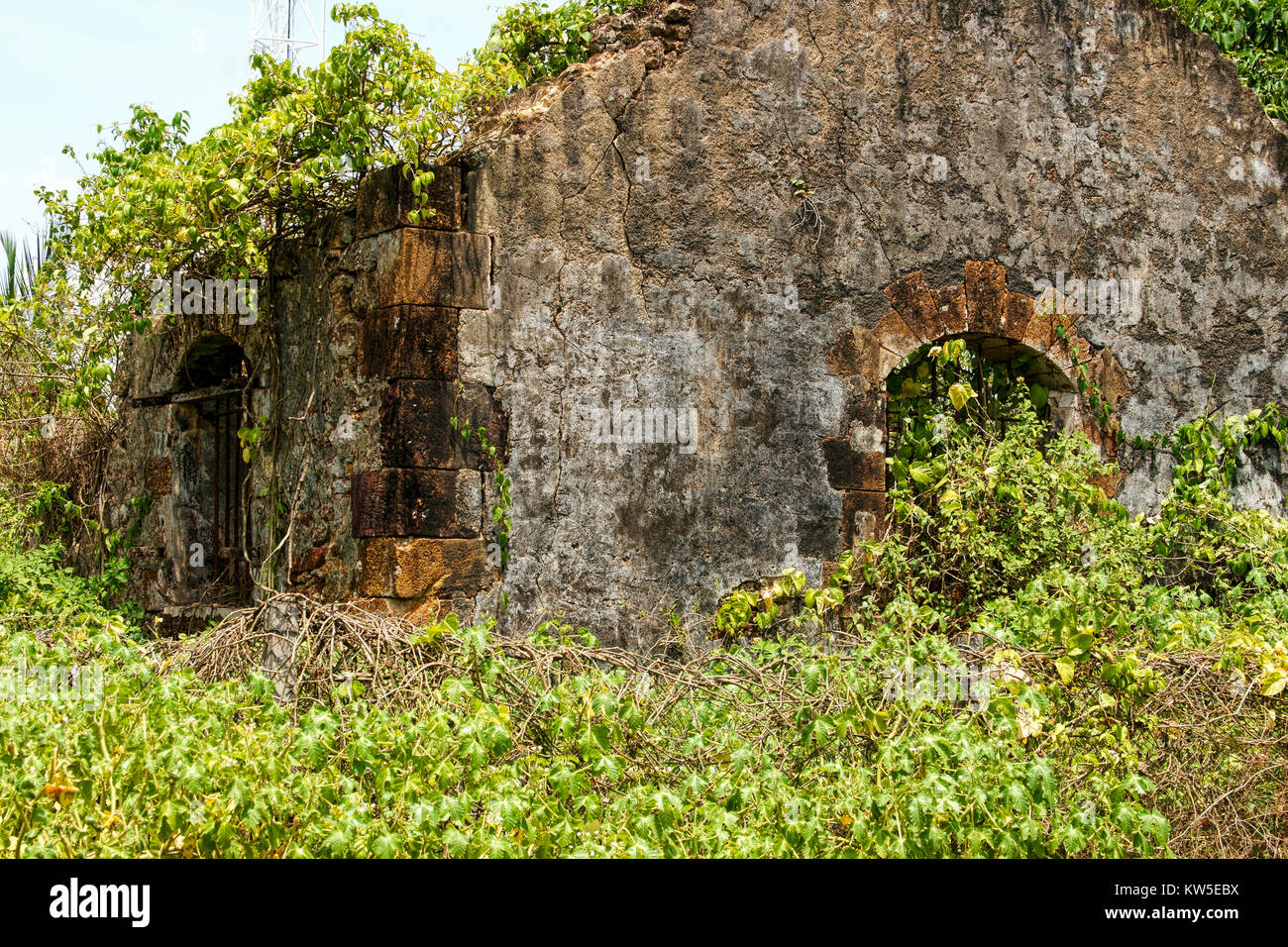 Ruins of one of the old French Prison buildings. French Guiana, Devil's Island. Bars can still be seen on the - Stock Image