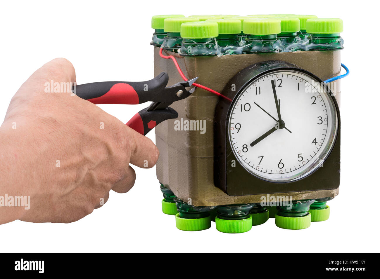 Deactivation of timed bomb. Detail of the hand during disposal of dangerous timebomb on white background. Isolated. - Stock Image