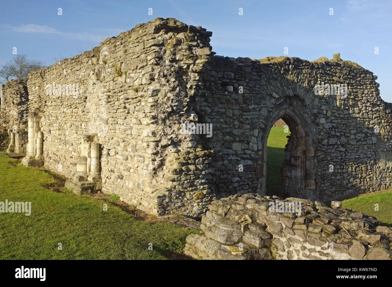 Lesnes Abbey ruins (12th century), Thamesmead, near Abbey Wood, south-east London, England, United Kingdom, 18 December - Stock Image