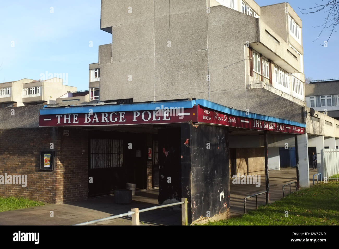 The Barge Pole pub, Post-war housing estate, Thamesmead, near Abbey Wood, south-east London, England, United Kingdom, - Stock Image