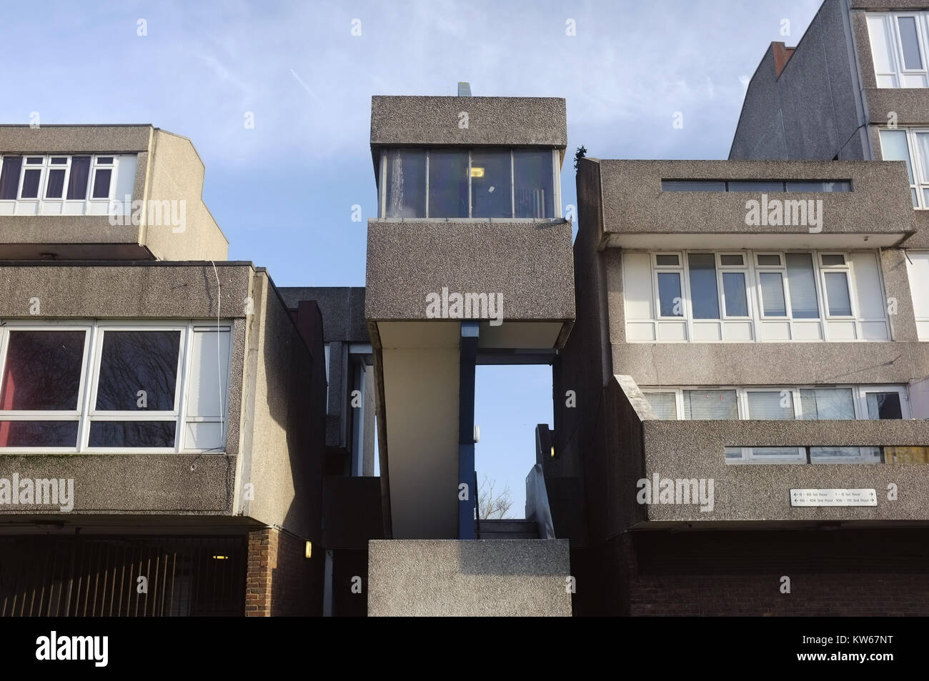 Post-war housing estate, Thamesmead, near Abbey Wood, south-east London, England, United Kingdom, 18 December 2017 - Stock Image
