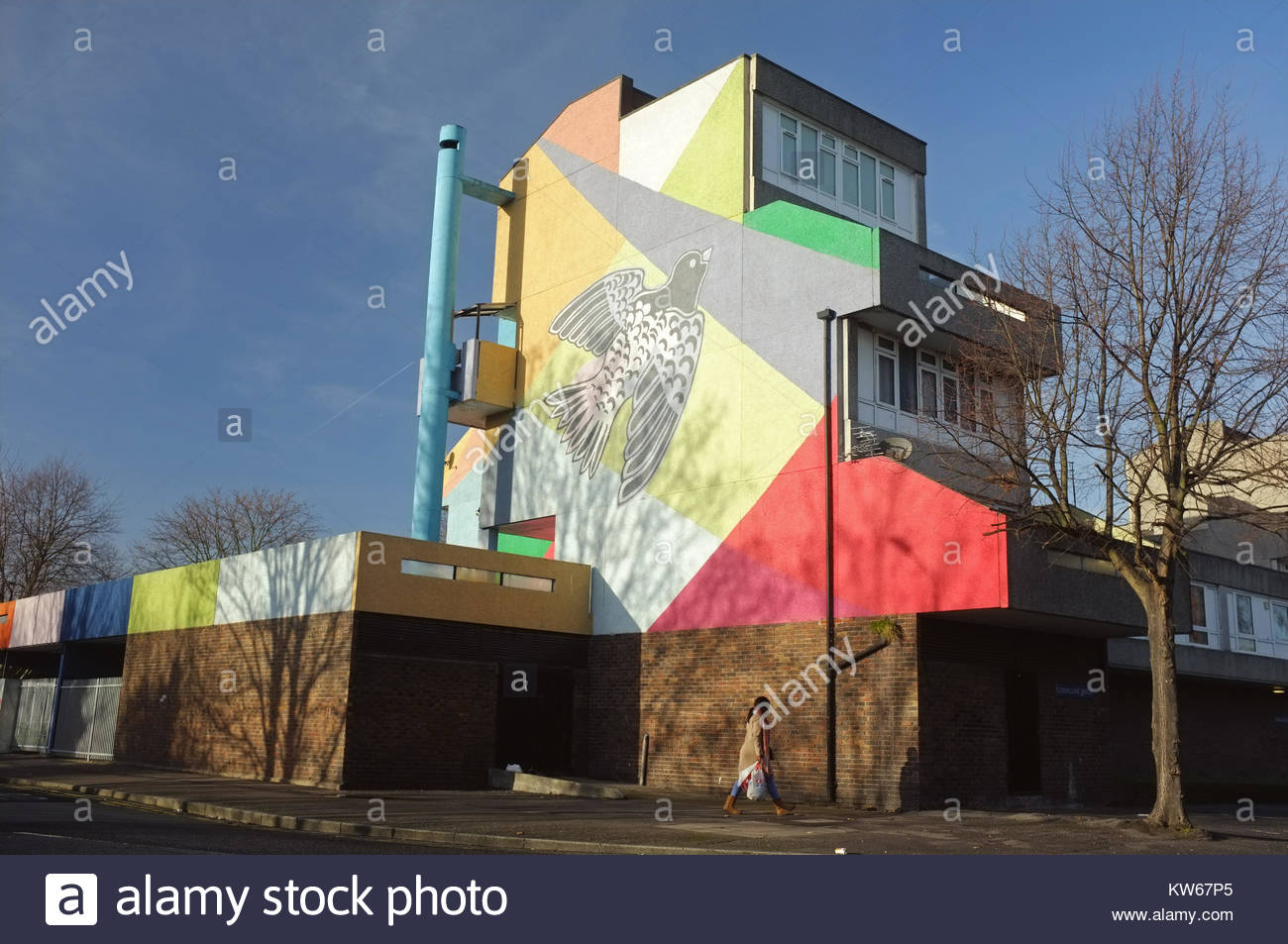 Colourful mural, Post-war housing estate, Thamesmead, near Abbey Wood, south-east London, England, United Kingdom, - Stock Image