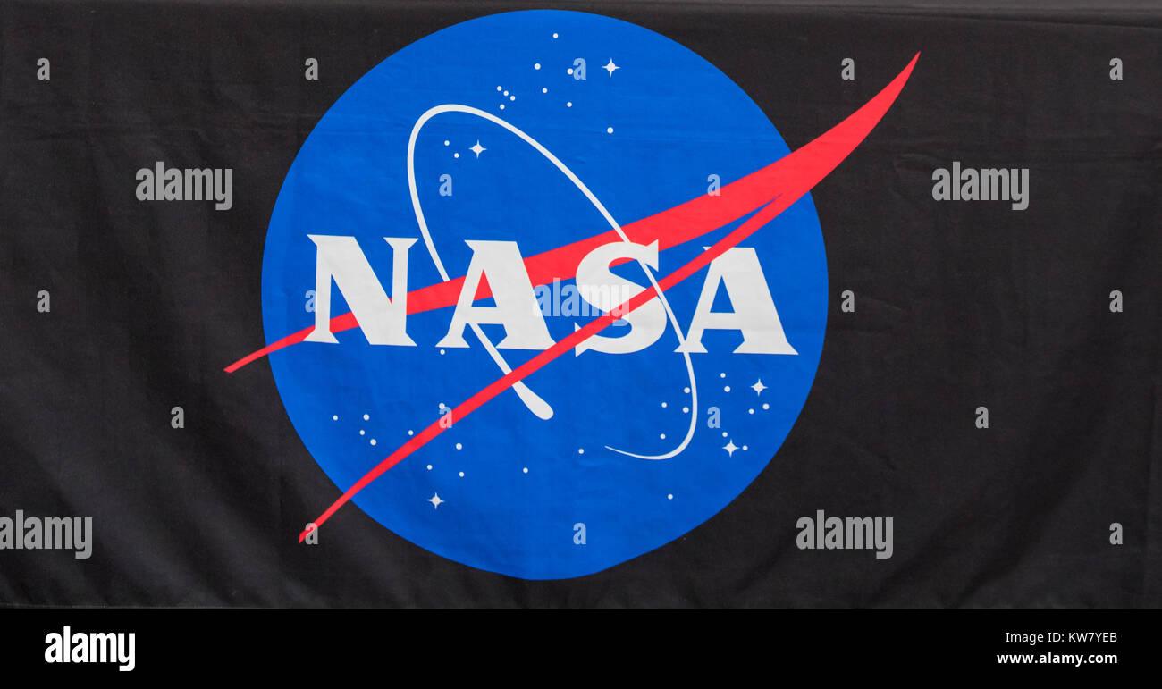 Oshkosh, WI - 24 July 2017:  A NASA logo on a table cloth at a display booth. - Stock Image