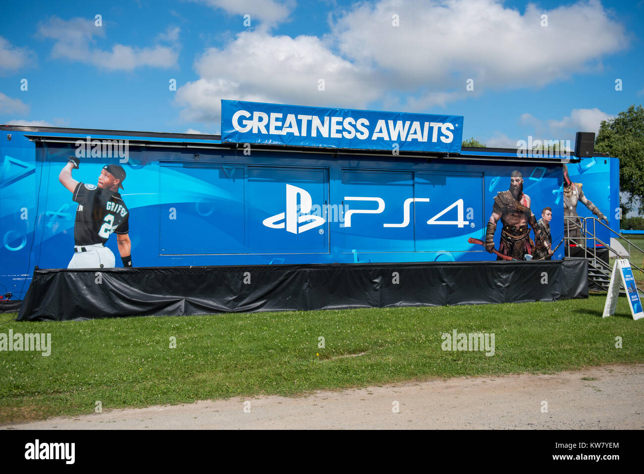 Oshkosh, WI - 24 July 2017:  A Sony Playstation PS4 display booth - Stock Image
