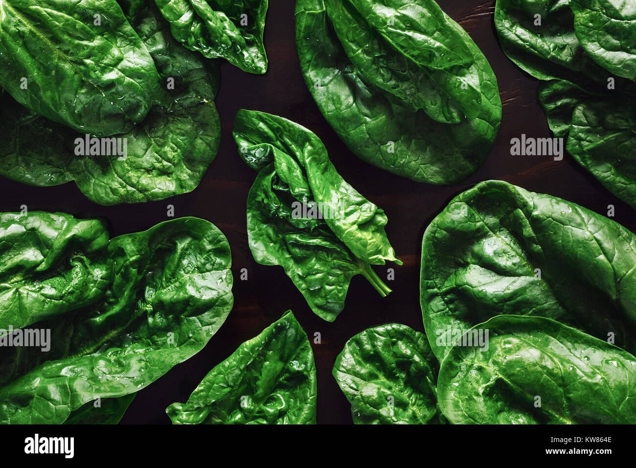 Spinach Leaves on Dark Table - Stock Image
