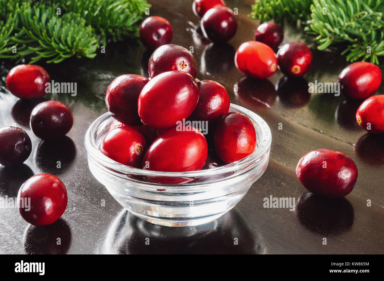 Cranberries in Glass Bowl on Dark Table with Pine - Stock Image