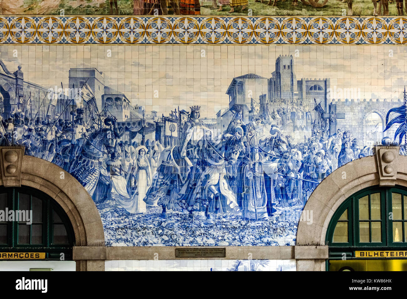 Porto, Portugal, August 15, 2017: Sao Bento railway station's azulejo panel by Jorge Colaco circa 1916, depicting - Stock Image