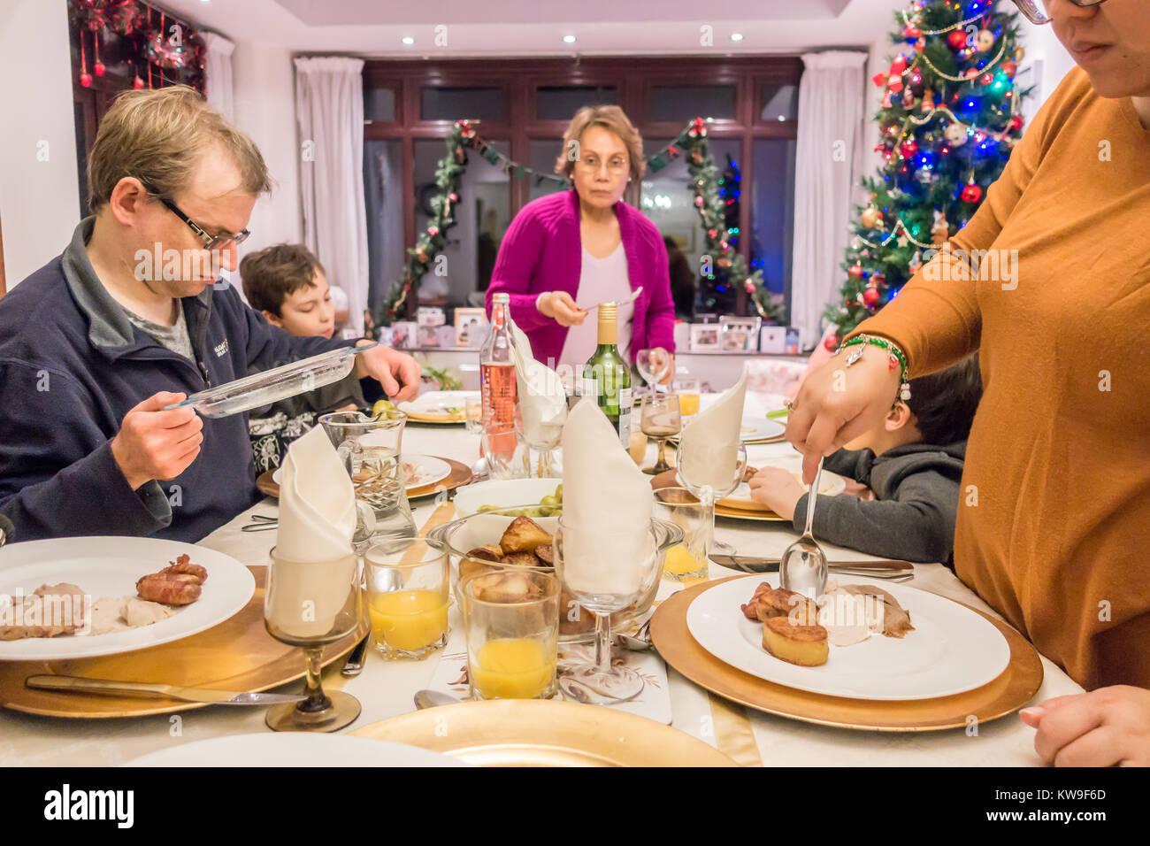 Family dinner table stock photos family dinner table for Restaurants serving christmas dinner