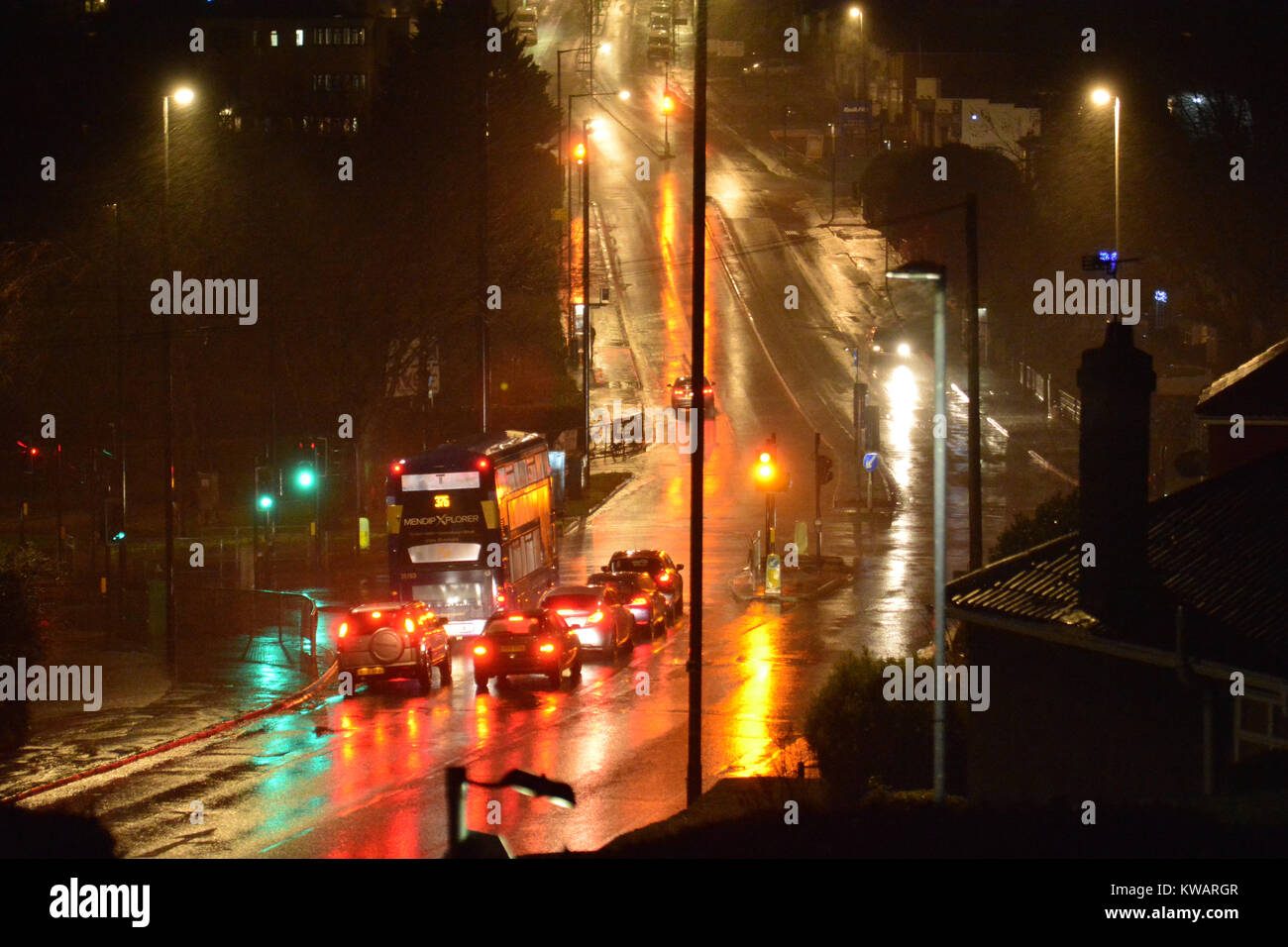Bristol, UK. 02nd Jan, 2018. UK Weather. Storm force winds and violent rain storm lashes the Wells Road junction - Stock Image