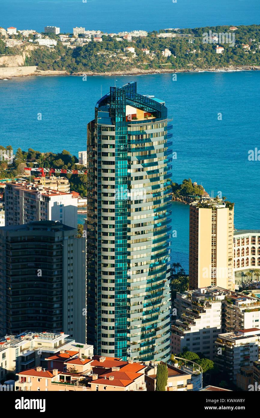 MONACO'S TALLEST BUILDING (170m). Odeon Tower in La Rousse Saint-Roman district in the Principality of Monaco. - Stock Image