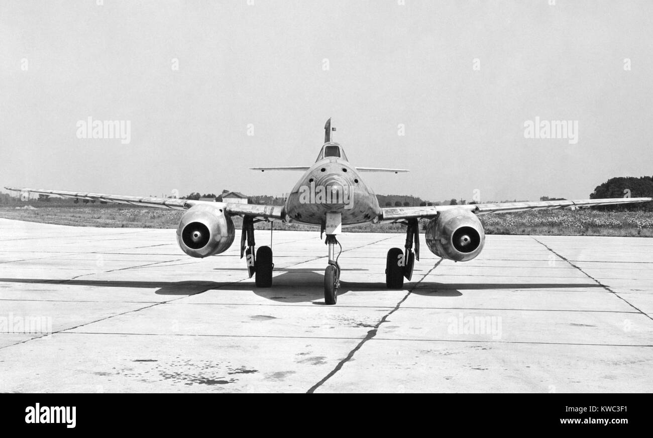 German Messerschmitt 262 jet-propelled plane in possession of the U.S. Air Force after World War 2. Frontal view. - Stock Image