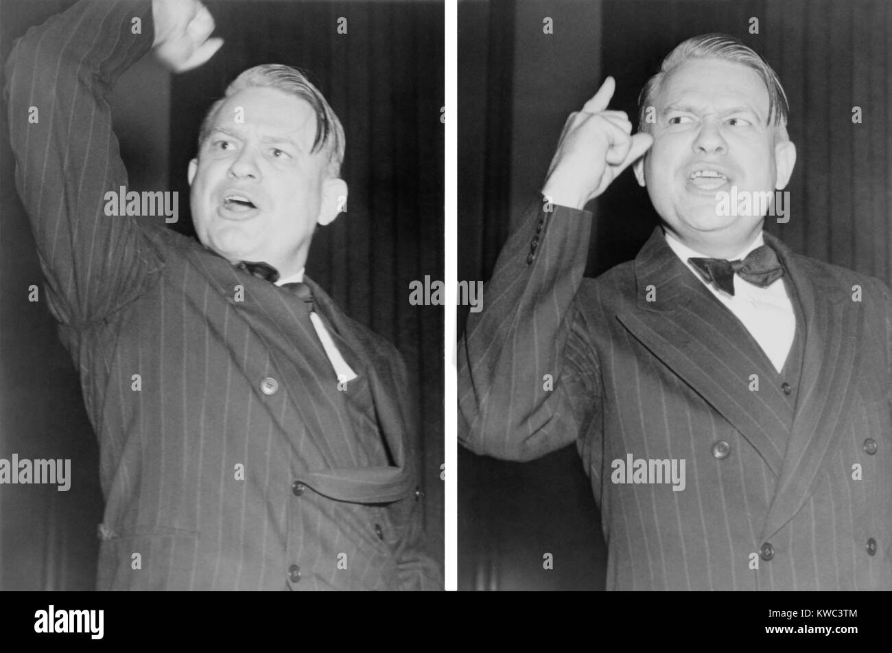 Two views of Martin Dies, emphatically gesturing during a speech against Communism. Oct. 30, 1939. Dies and Samuel - Stock Image