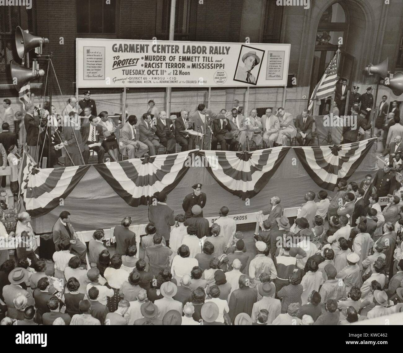Protest against the murder of African American teenager, Emmett Till. Oct. 11, 1955. The New York City event was - Stock Image