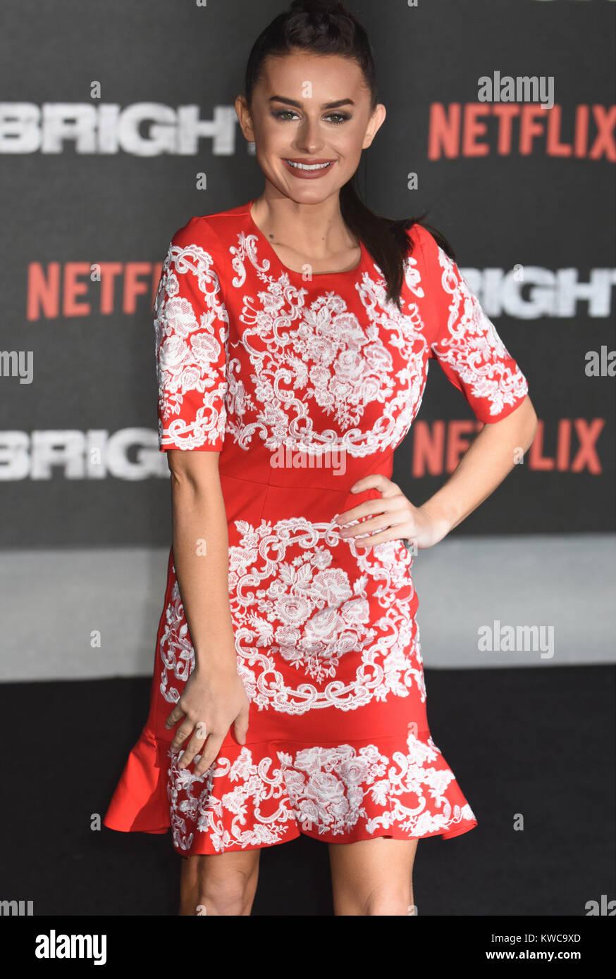 Amber Davies,UK Film Premiere of Bright,BFI Southbank,London.UK - Stock Image