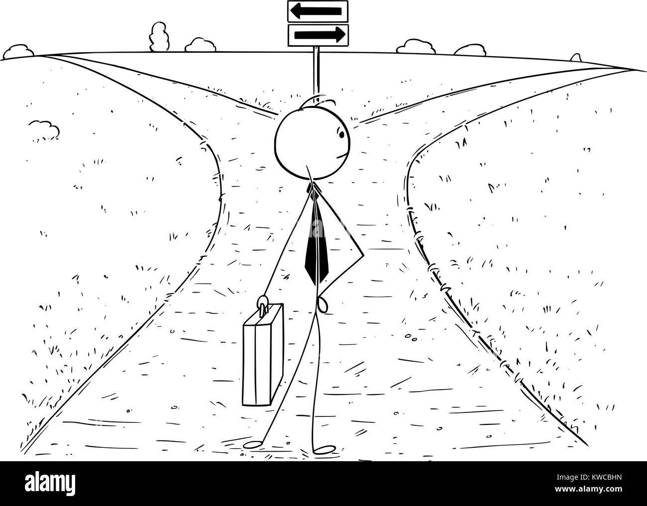 Cartoon stick man drawing illustration of businessman standing on the crossroad and making choice or decision. Concept - Stock Image