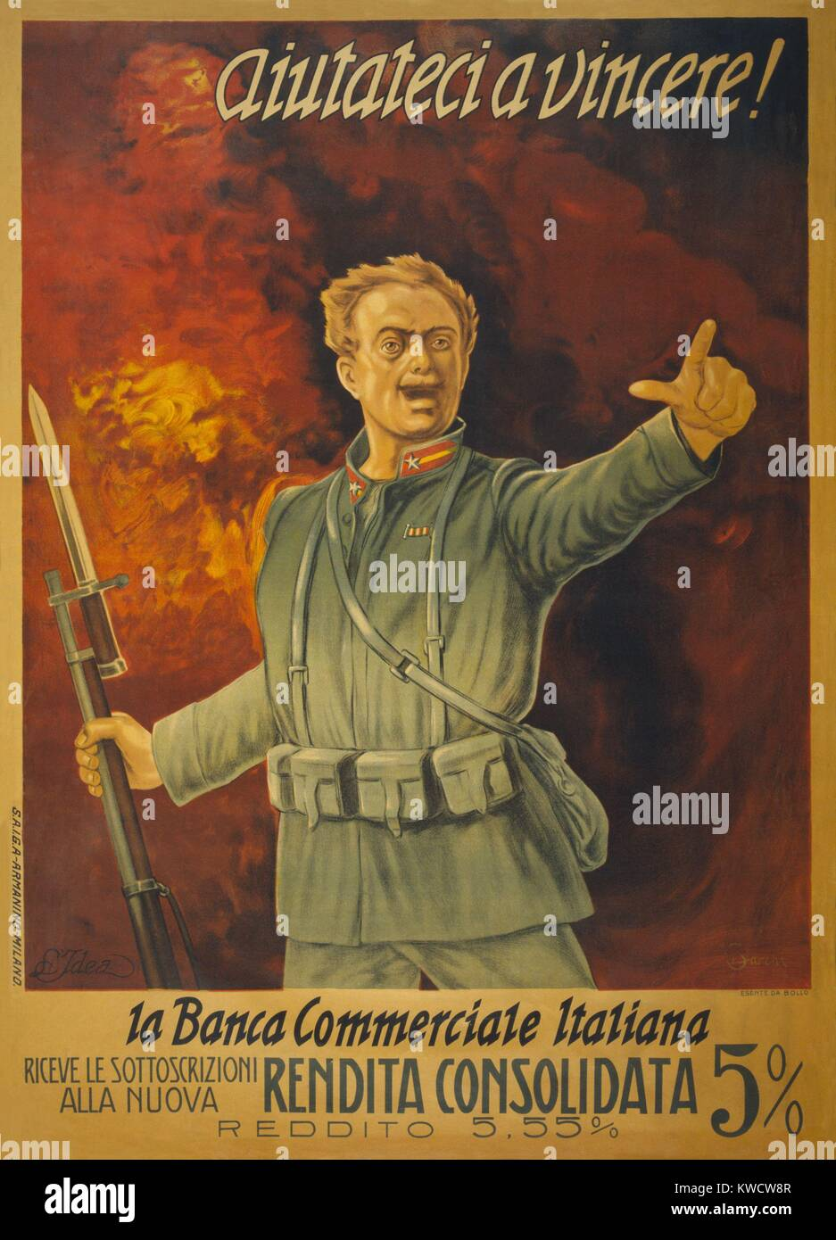 Italian World War 1 bond poster. Standing in front of a wall of fire, and Italian soldier with a bayoneted rifle - Stock Image