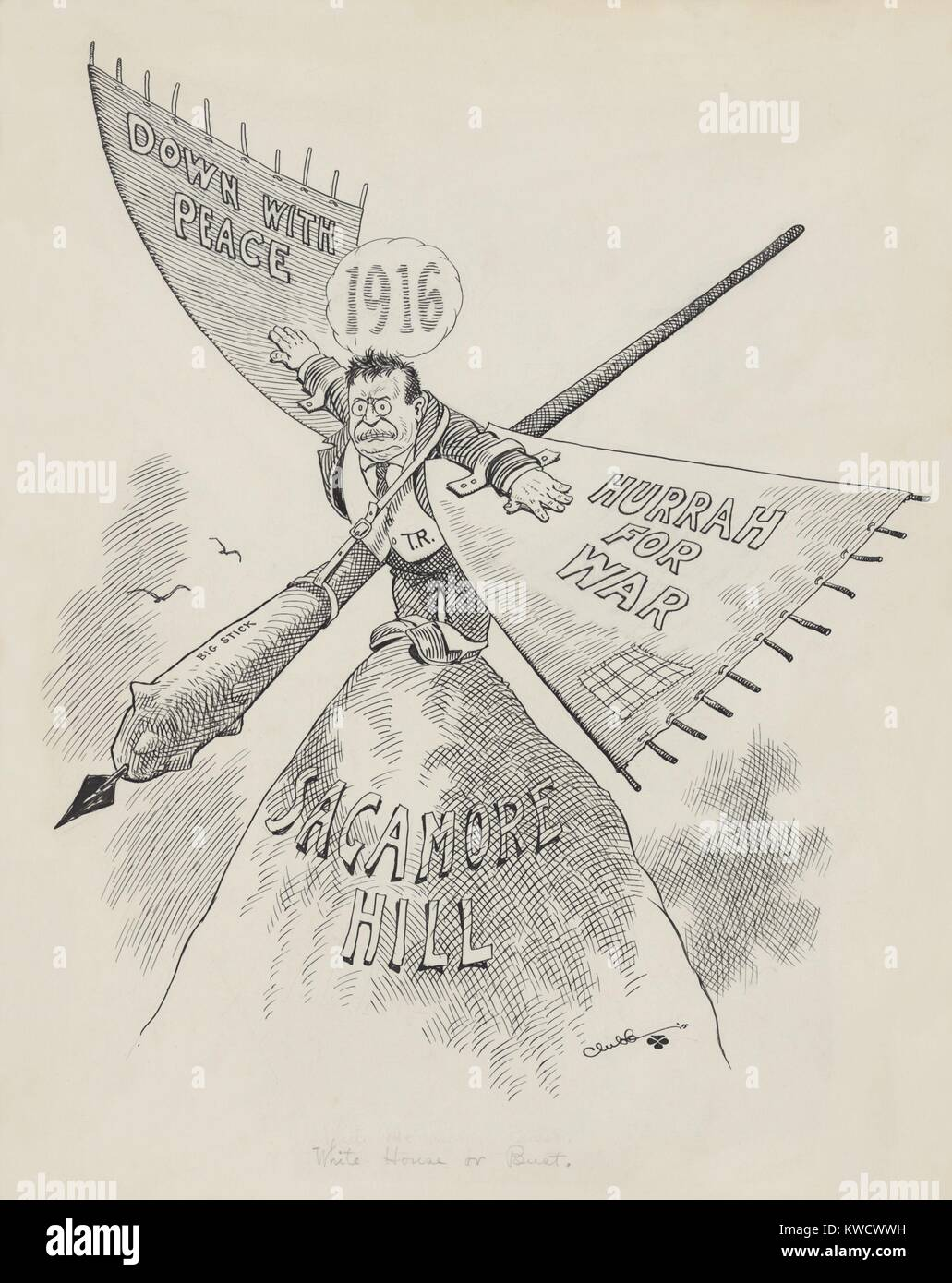 WHITE HOUSE OR BUST, is handwritten title of John Clubbs 1915 cartoon of Theodore Roosevelt. TR wears wings inscribed - Stock Image