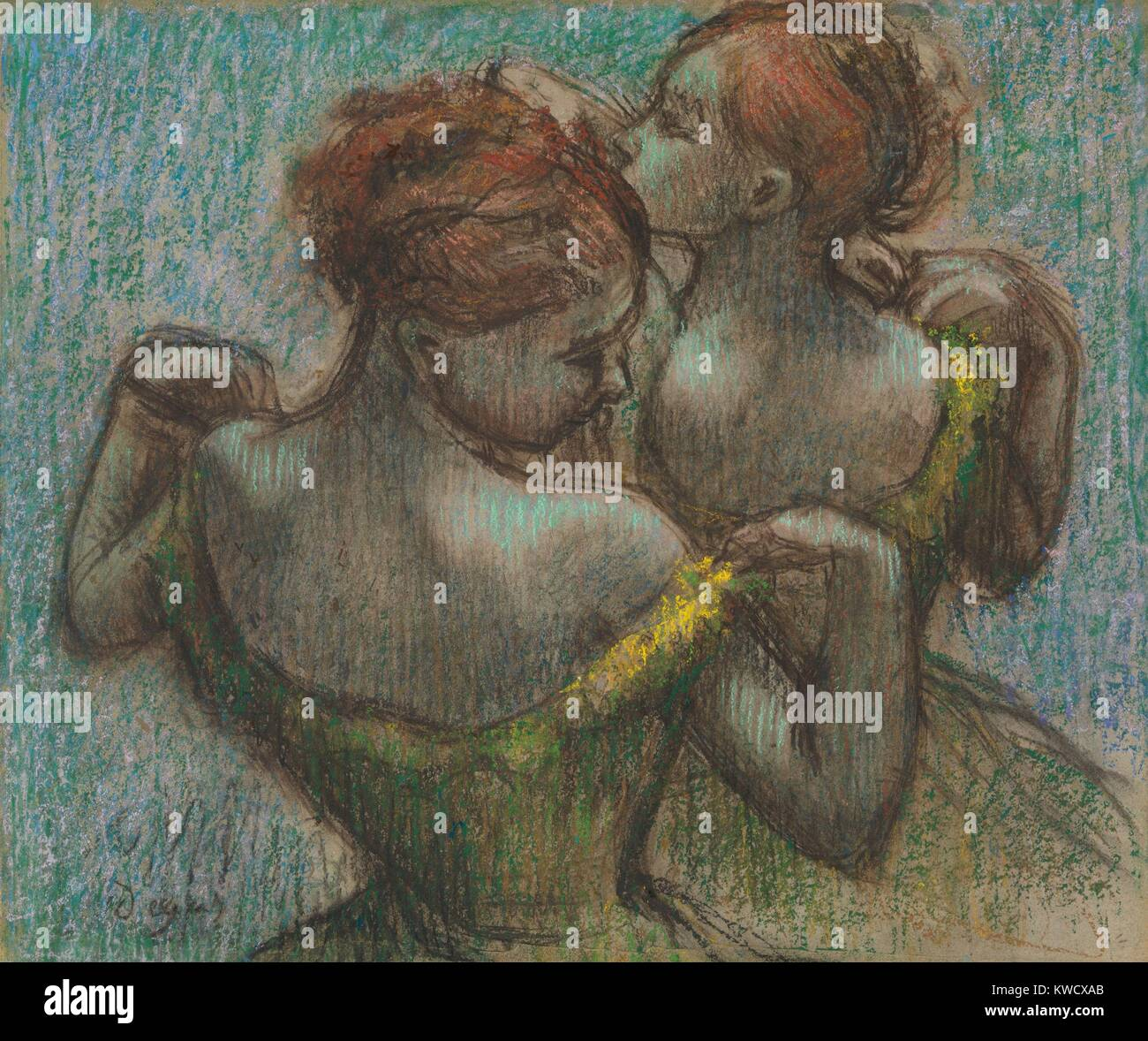 Two Dancers, by Edgar Degas, 1870-95, French impressionist drawing, pastel on paper. Two dancers depicted as they - Stock Image