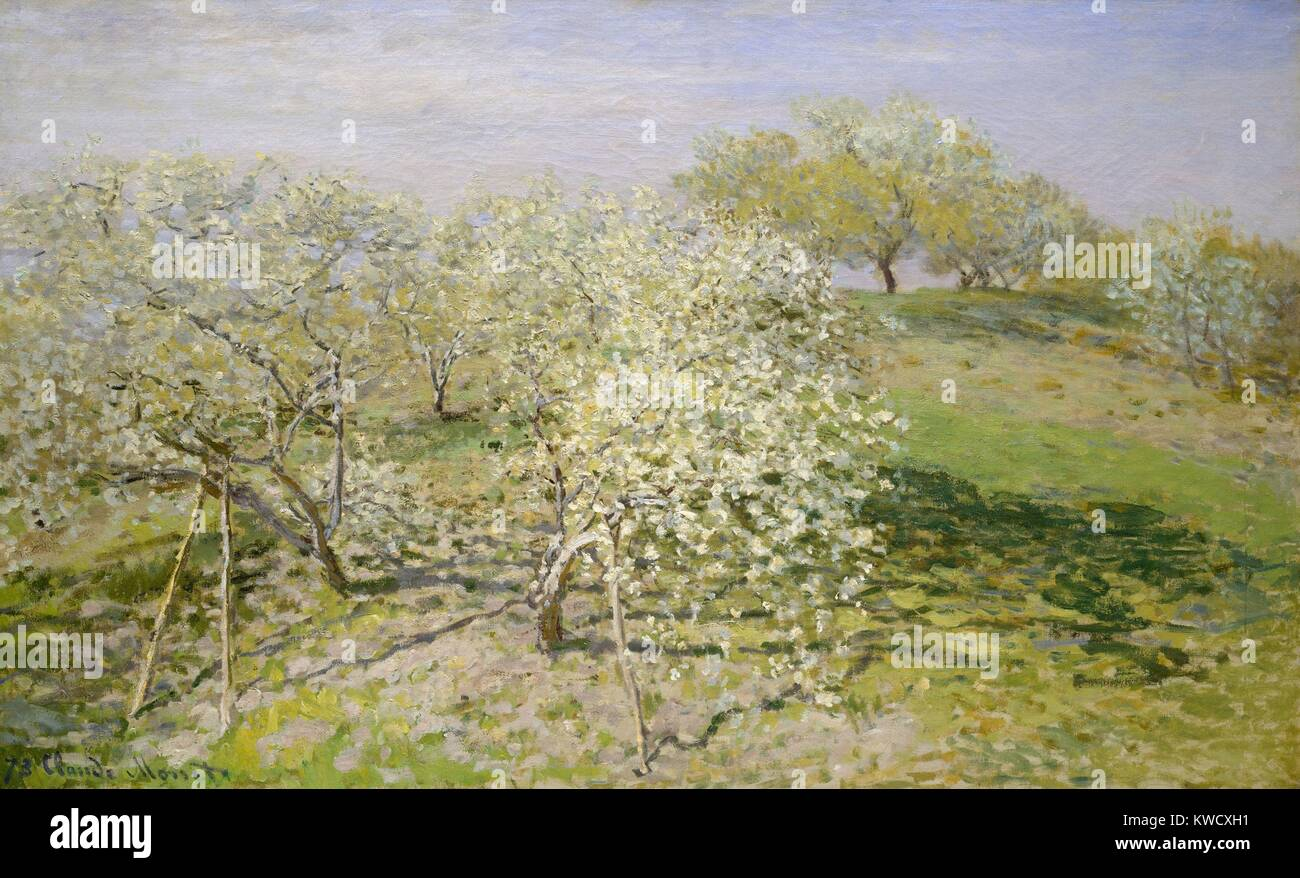 Spring (Fruit Trees in Bloom), by Claude Monet, 1873, French impressionist painting, oil on canvas. This work was - Stock Image