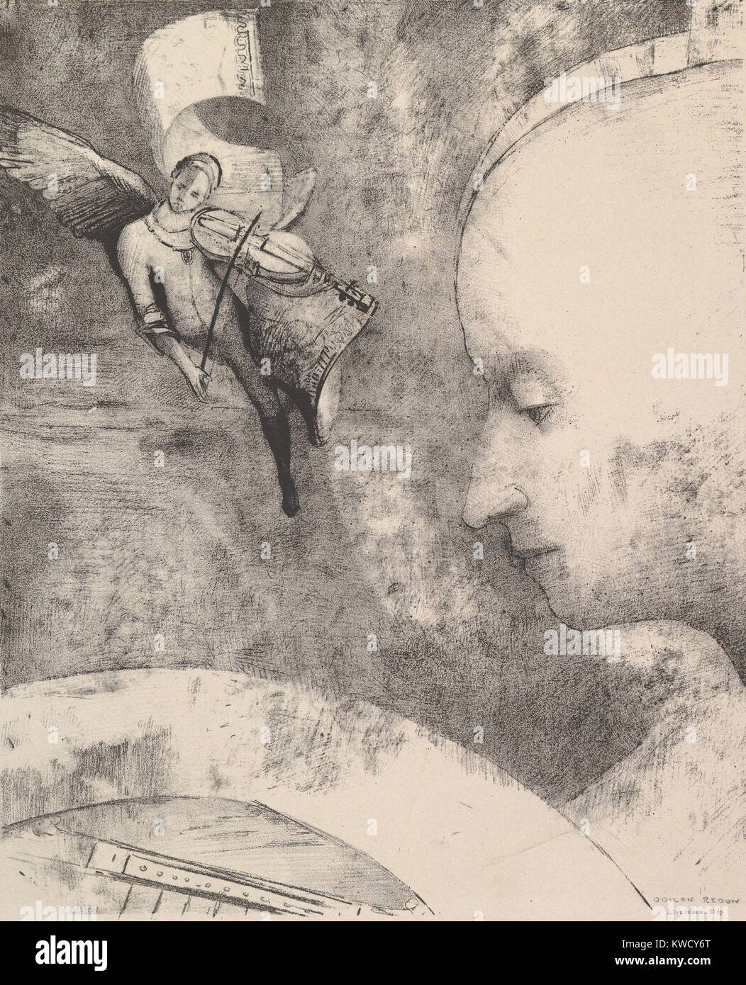 The Celestial Art, by Odilon Redon, 1894, French Symbolist print, lithograph. Anticipating Surrealism, Redons lithograph - Stock Image