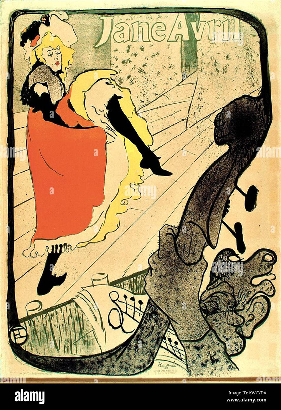 Jane Avril, by Henri de Toulouse-Lautrec, 1893, French Post-Impressionist print, lithograph. Avril, friend of the - Stock Image