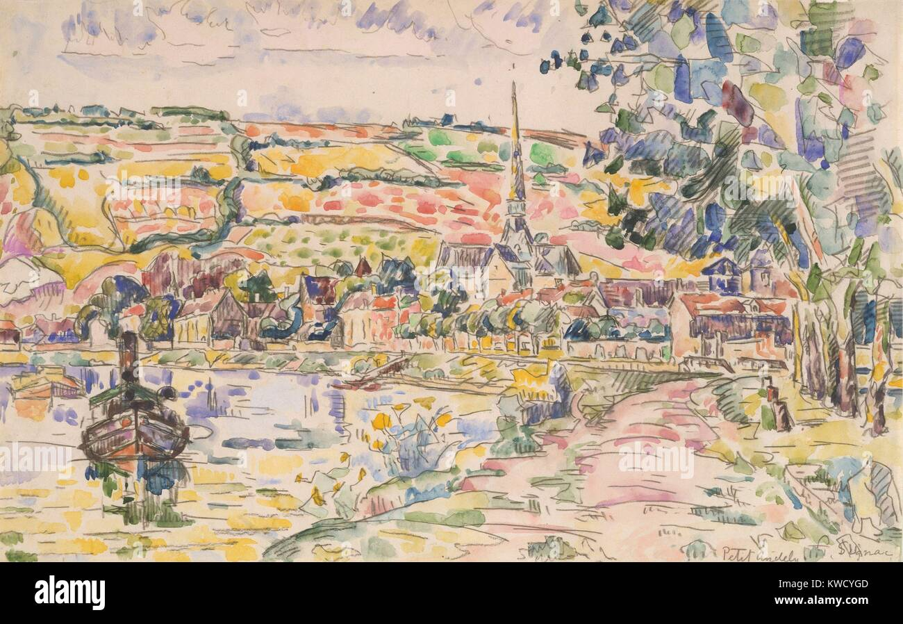 Petit Andely-The River Bank, by Paul Signac, 1920-29, French Post-Impressionist watercolor painting. This is a view - Stock Image