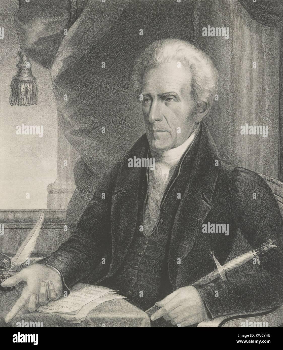 President Andrew Jackson, 1833 print by Ezra Bisbee (BSLOC_2017_6_13) - Stock Image