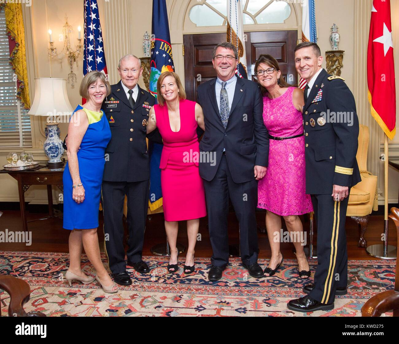 Happy chief defenders of the US with their wives at a reception on June 11, 2013. At the State Dept. event, foreign - Stock Image