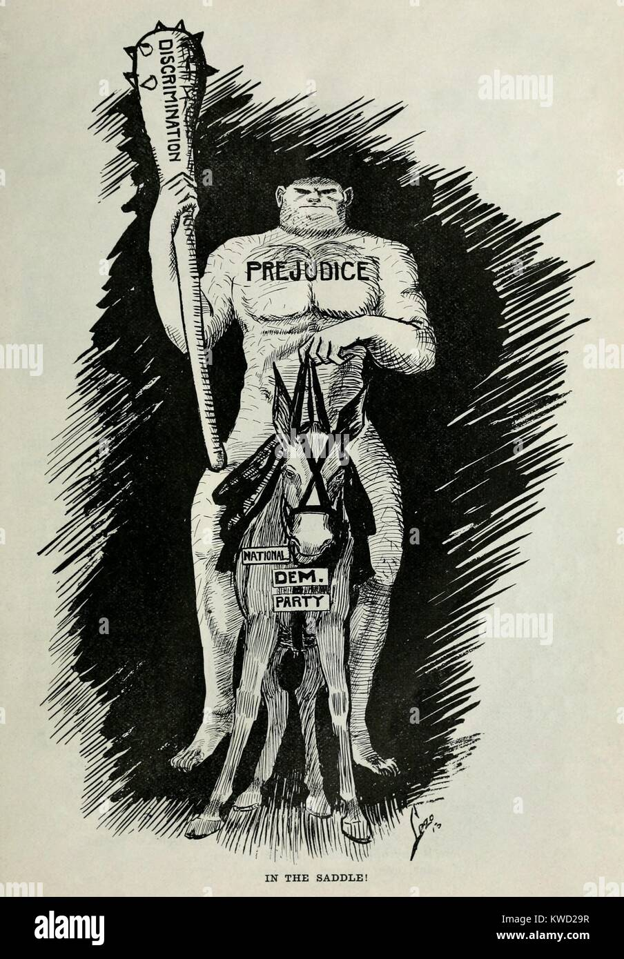 Anti-Democratic Party political cartoon from THE CRISIS, 1910. A brutish figure mounted on a donkey symbolizing - Stock Image
