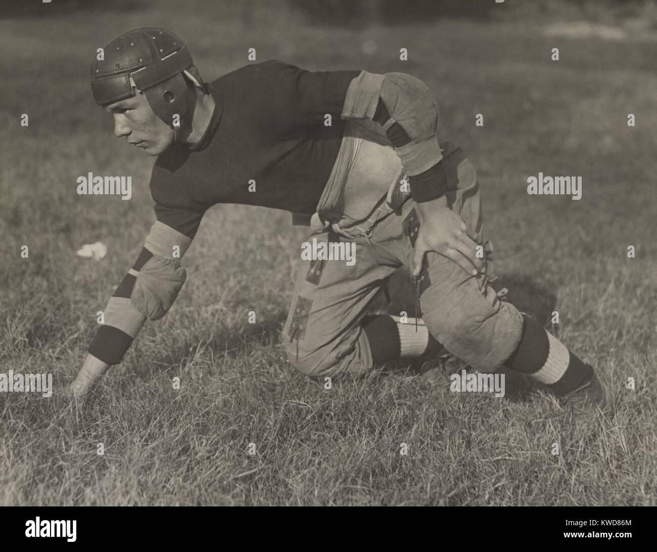Eastern High School football player in Washington, D.C., ca. 1920-1925. (BSLOC_2015_17_128) - Stock Image