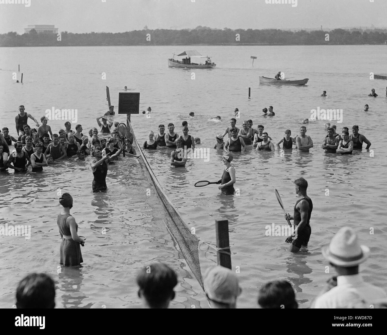 Water tennis match at the Tidal Basin in Washington, D.C., Aug. 12, 1921. (BSLOC_2015_17_143) - Stock Image