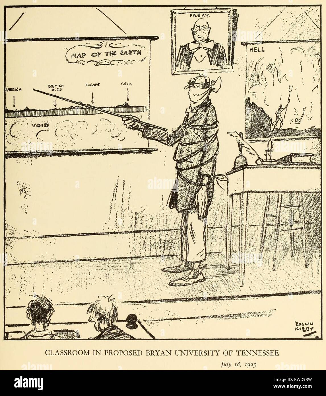 CLASSROON IN PROPOSED BRYAN UNIVERSITY IN TENNESSEE, July 18, 1925, by Rollin Kirby, NEW YORK WORLD. The gagged - Stock Image