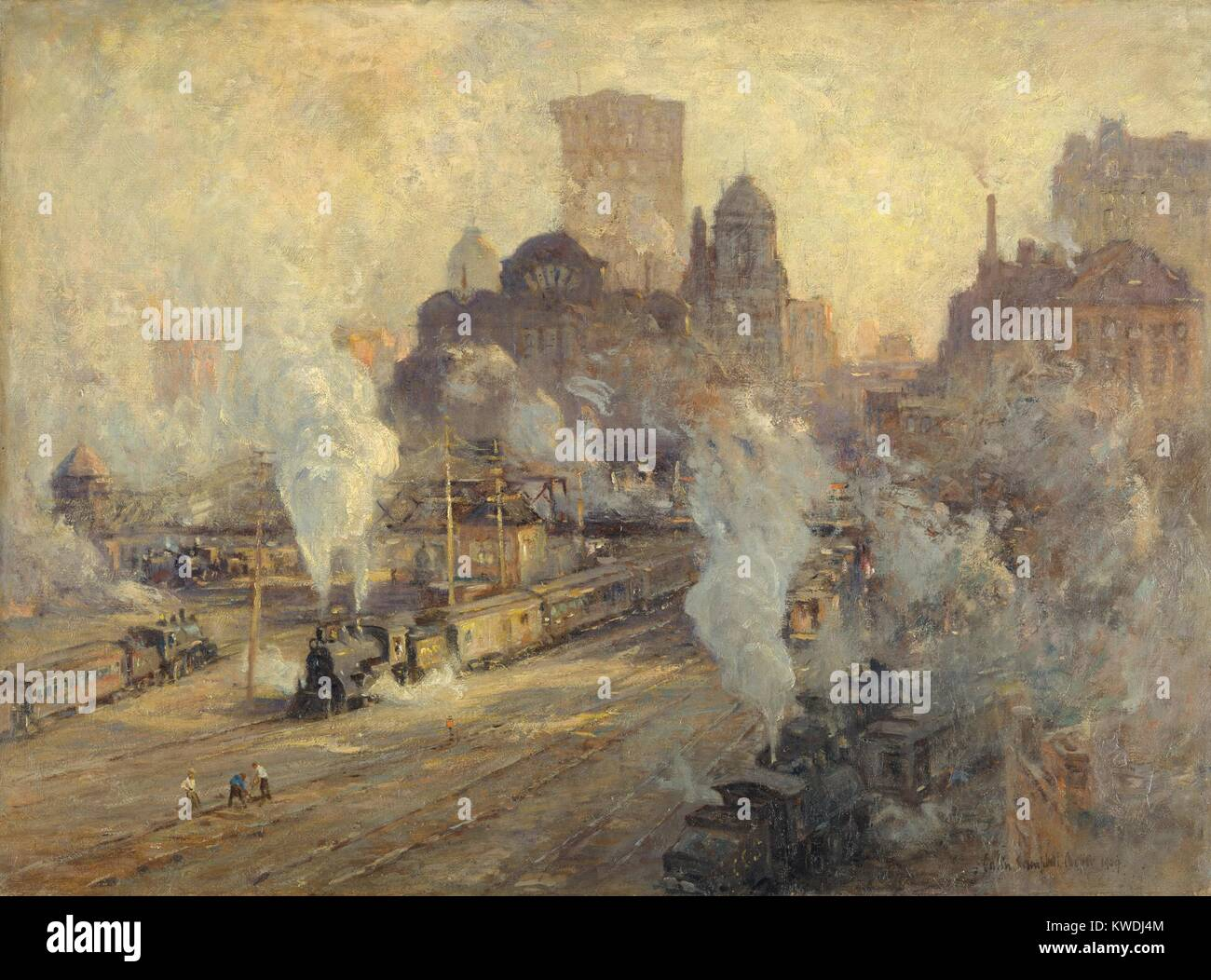 GRAND CENTRAL TERMINAL, by Colin Campbell Cooper, 1909, American painting, oil on canvas. The train yard of Grand - Stock Image