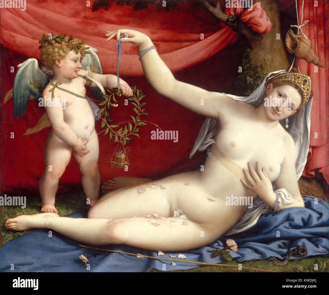 VENUS AND CUPID, by Lorenzo Lotto, 1520s, Italian Renaissance painting, oil on canvas. This work was painted to - Stock Image