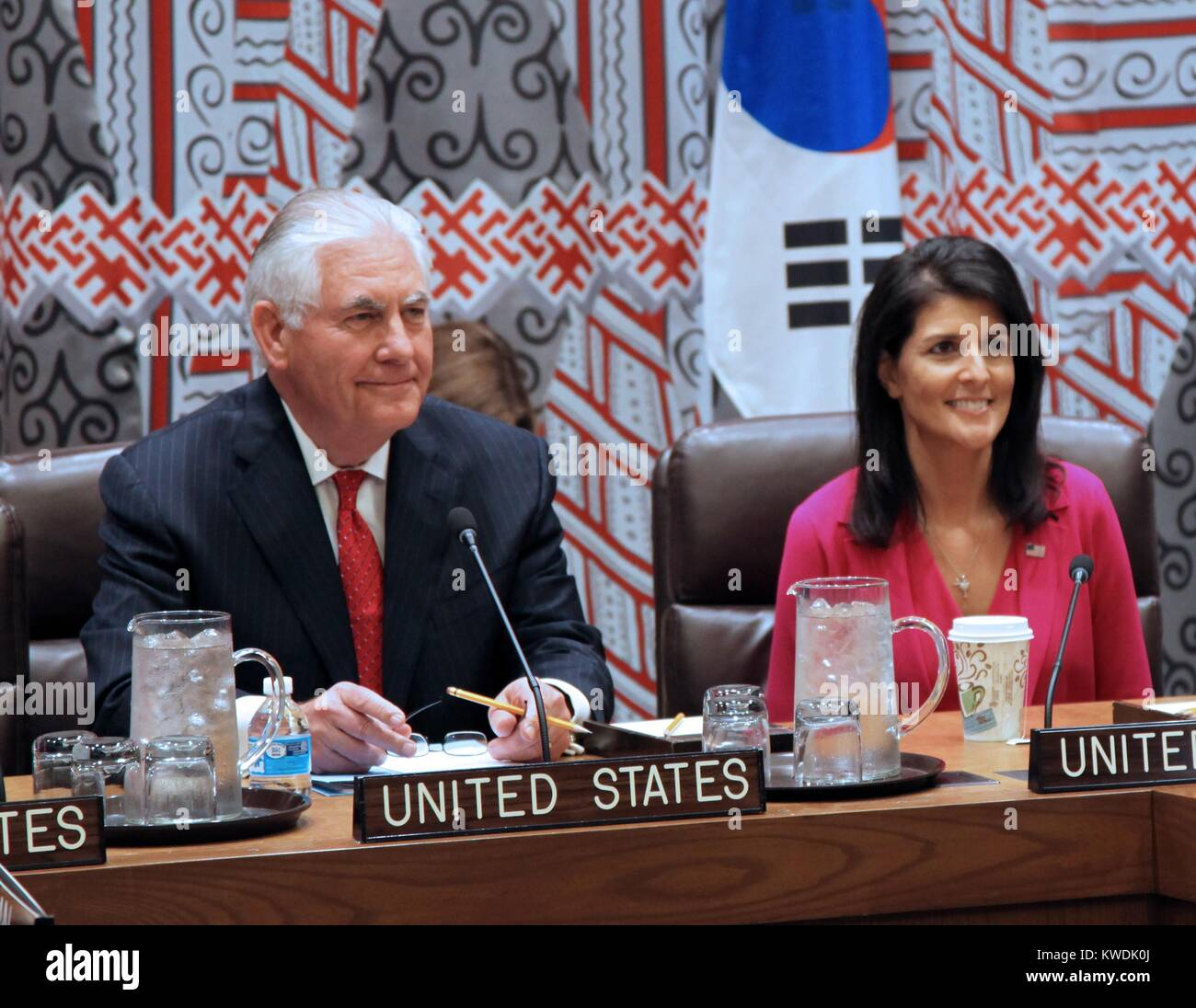 US Secretary Tillerson and UN Ambassador Nikki Haley meet with East Asian allies, April 28, 2017. At the United - Stock Image
