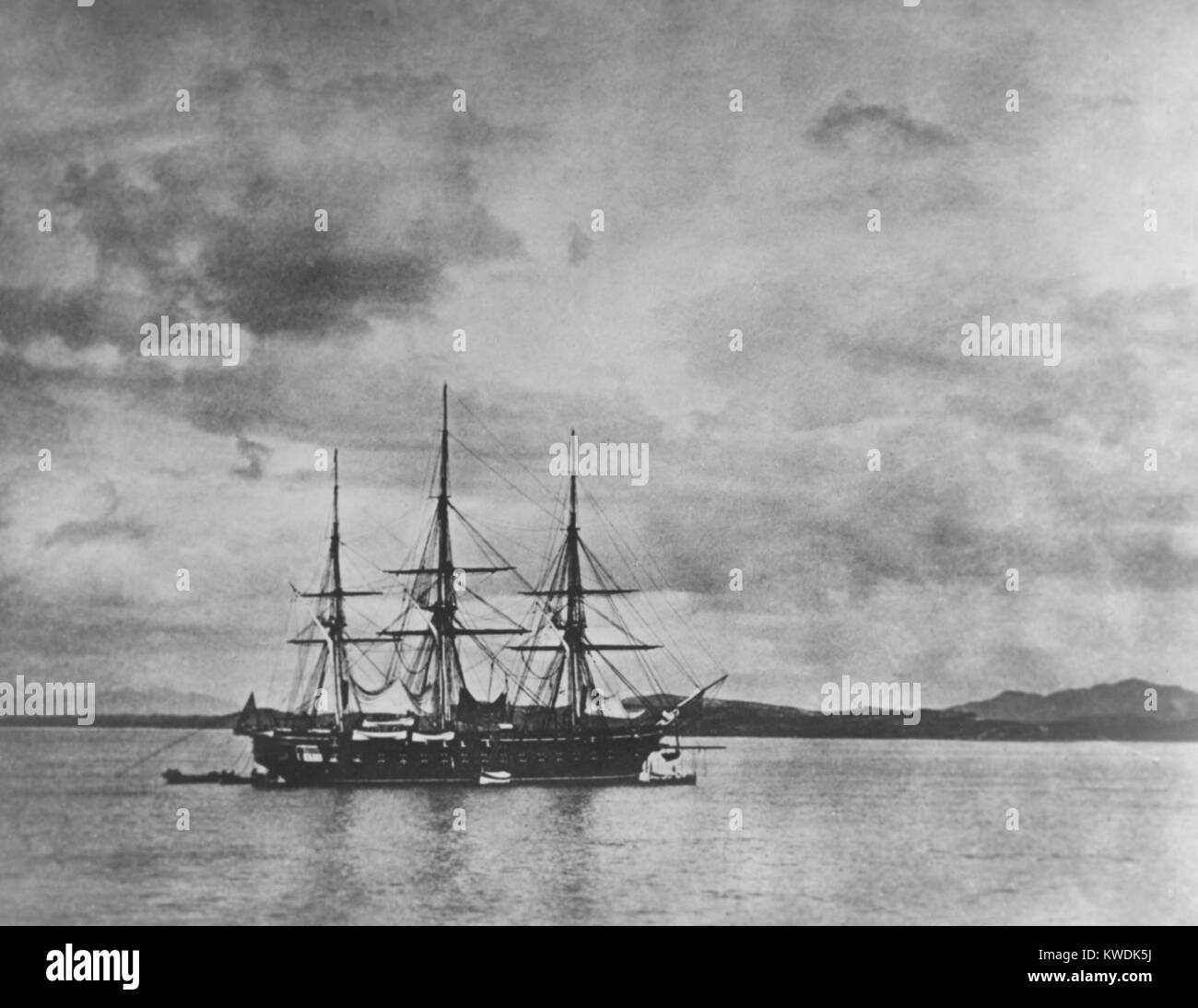 USS Frigate COLORADO in the Han River, Korea, during the Korean expedition of May-June, 1871. It was the flagship - Stock Image