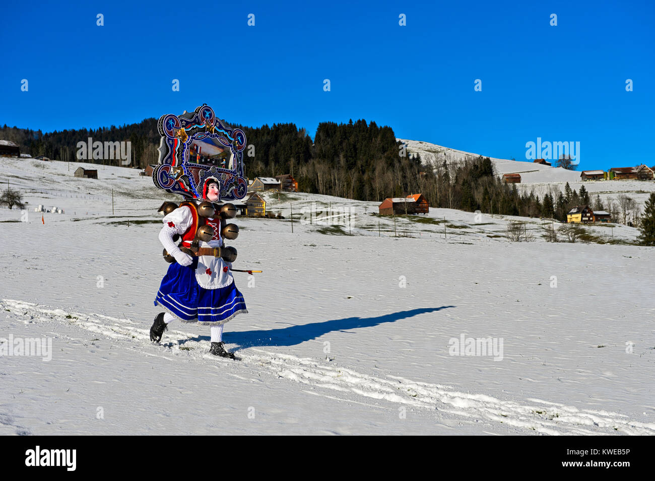 A Beautiful Chlaus with ornate embroidered headgear, St Sylvester mummer, Old Sylvester, Urnäsch, Canton Appenzell - Stock Image