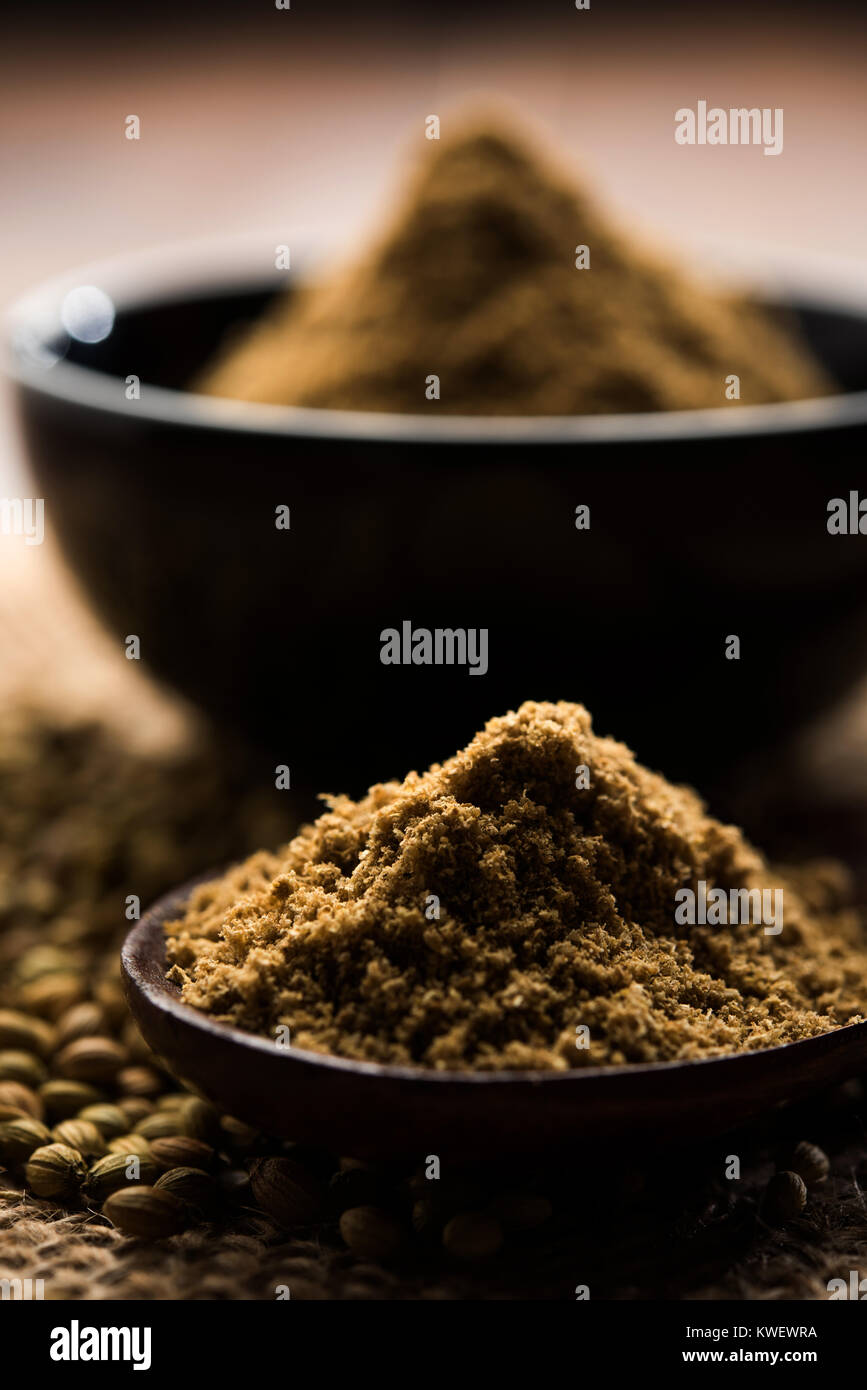 Indian spice coriander powder heap, selective focus - Stock Image