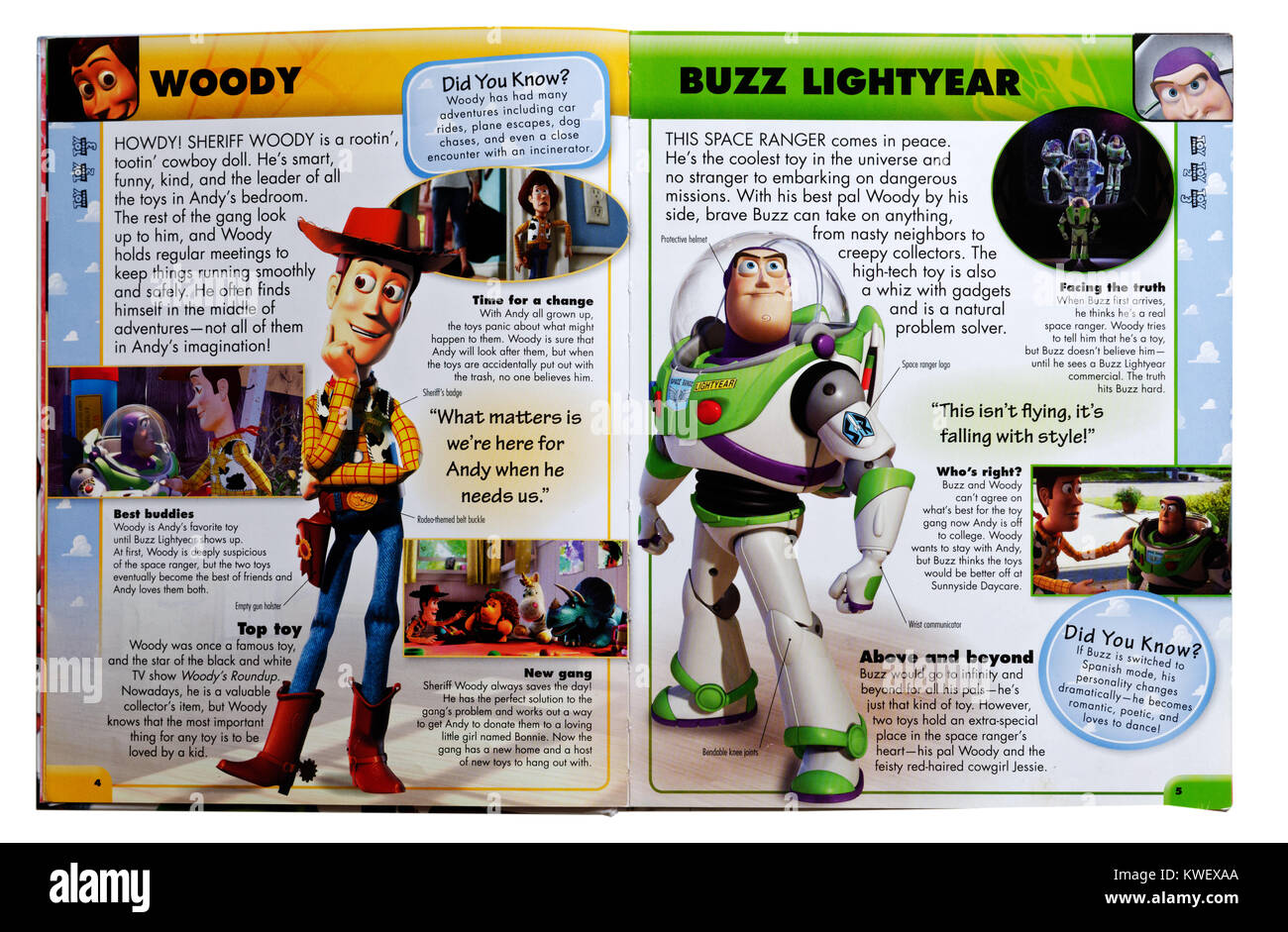 Pixar characters Woody and Buzz Lightyear from the film Toy Story in an Pixar Character Guide - Stock Image
