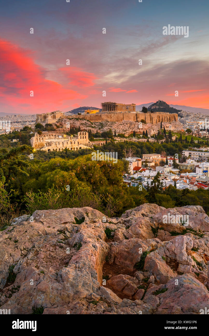 View of Acropolis from Filopappou hill at sunrise, Greece. - Stock Image