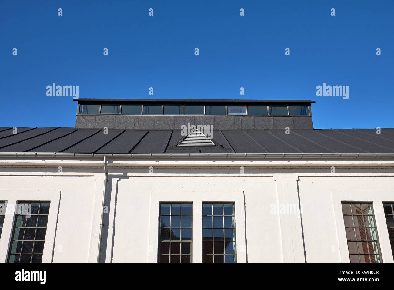 Restored old pitched roof top with tar paper, with a build up shed light - Stock Image