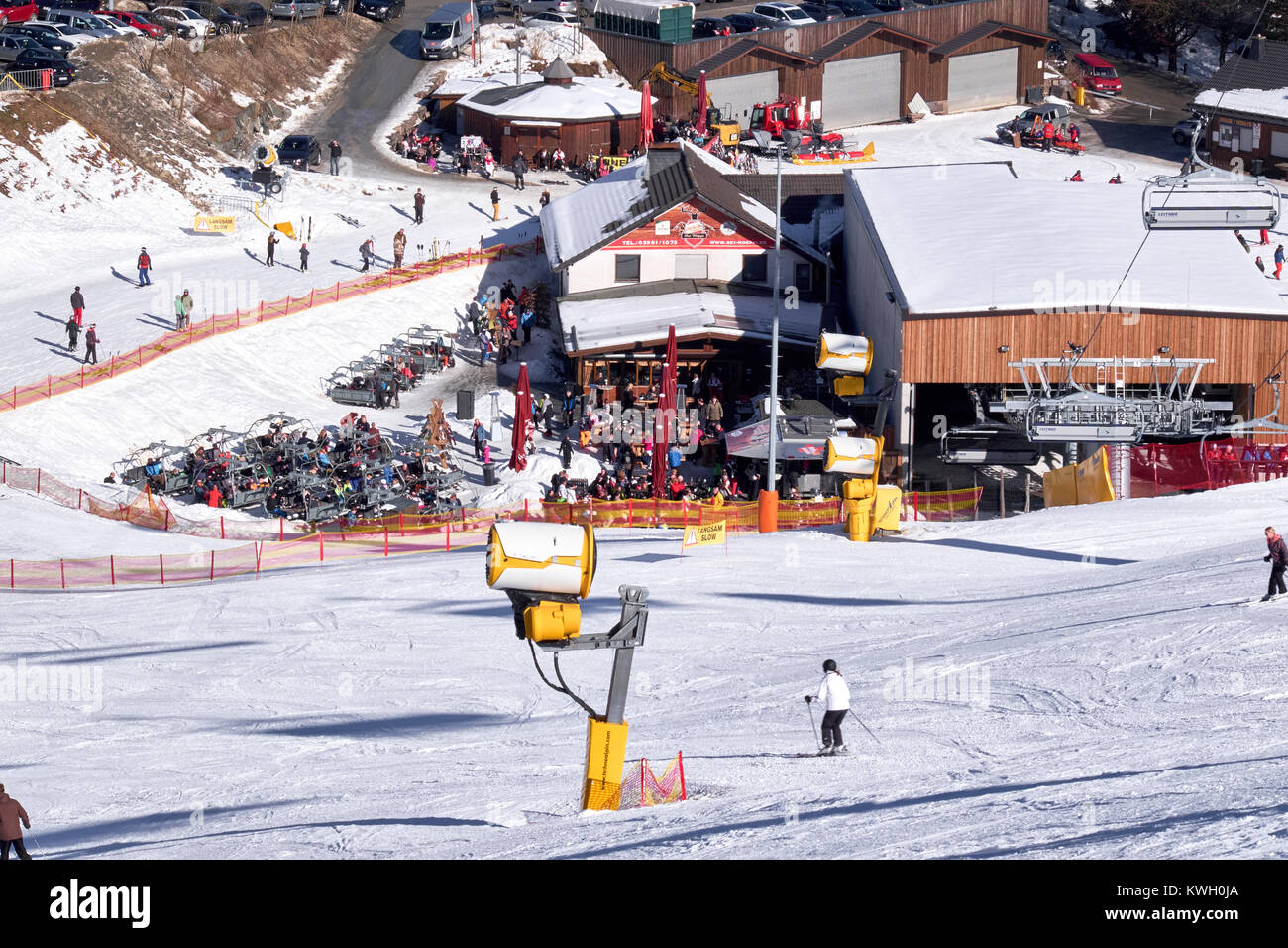 WINTERBERG, GERMANY - FEBRUARY 15, 2017: People at a bar near a bottom station at Ski Carousel Winterberg - Stock Image
