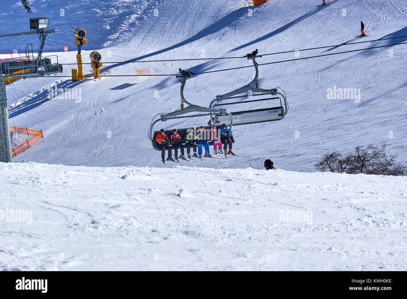 WINTERBERG, GERMANY - FEBRUARY 15, 2017: Chairlift system part of the Ski Carousel Winterberg - Stock Image