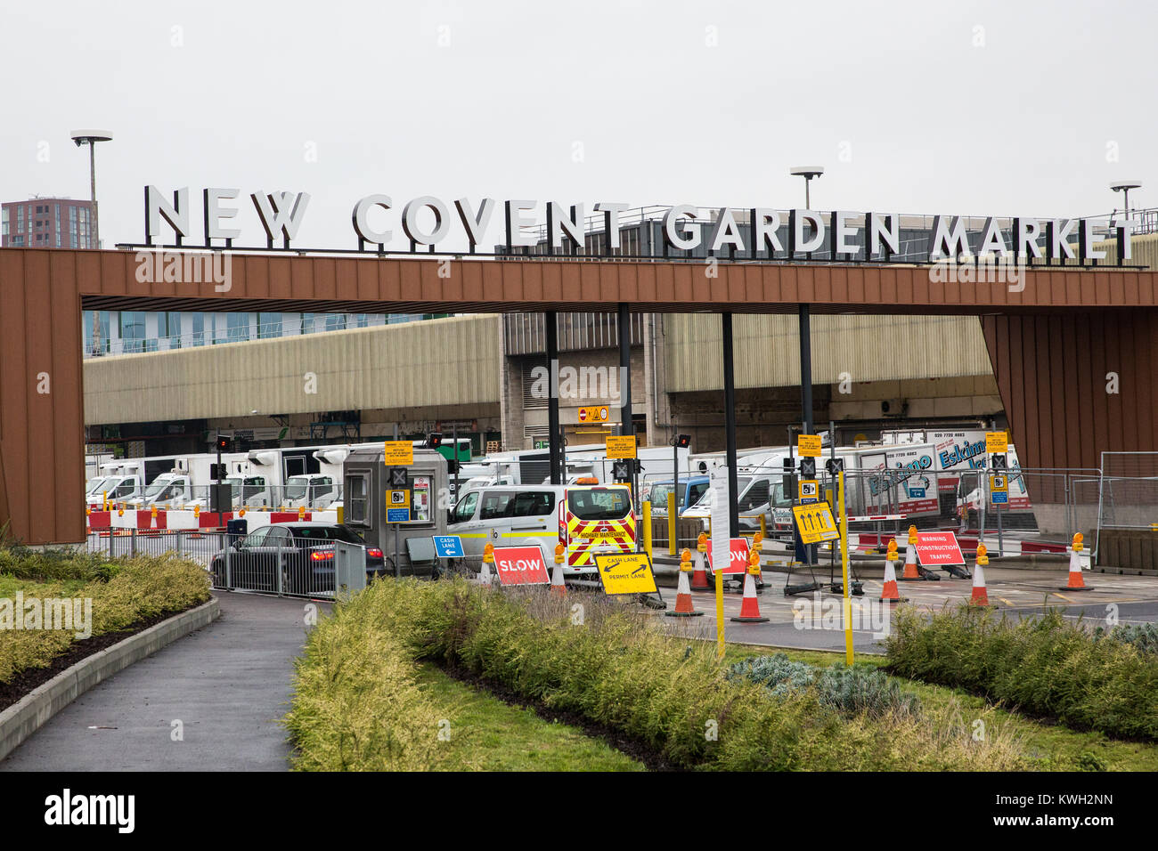 London, UK. 20th December, 2017. The entrance to New Covent Garden Market at Nine Elms. - Stock Image