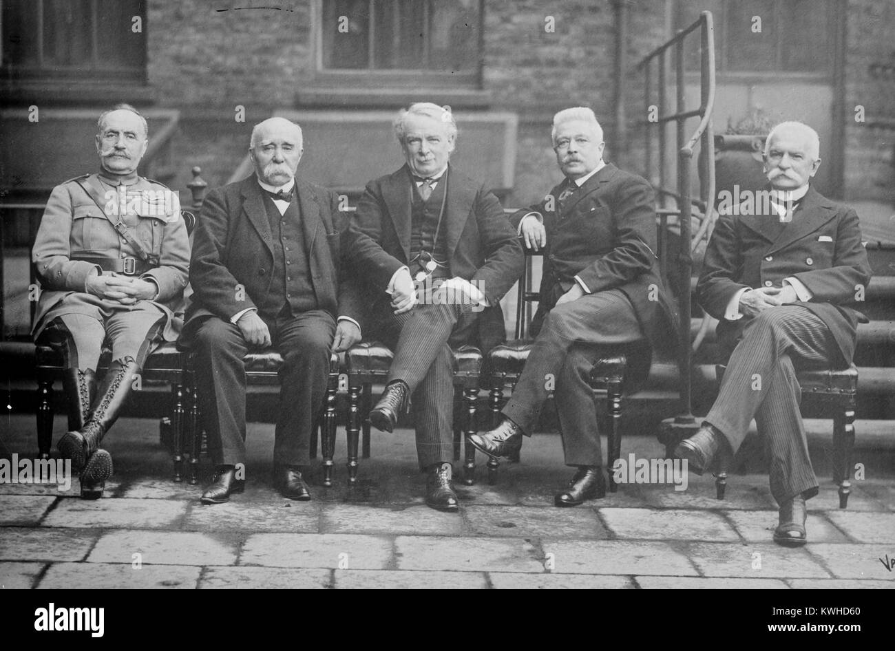 French General Ferdinand Foch (1851-1929), French Prime Minister Georges Benjamin Clemenceau (1841-1929), British - Stock Image