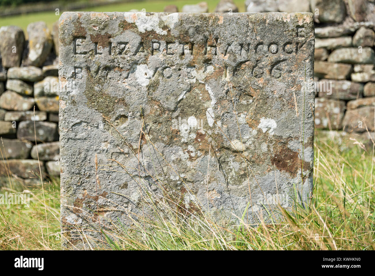 The Hancock family grave in Eyam, Derbyshire - Stock Image