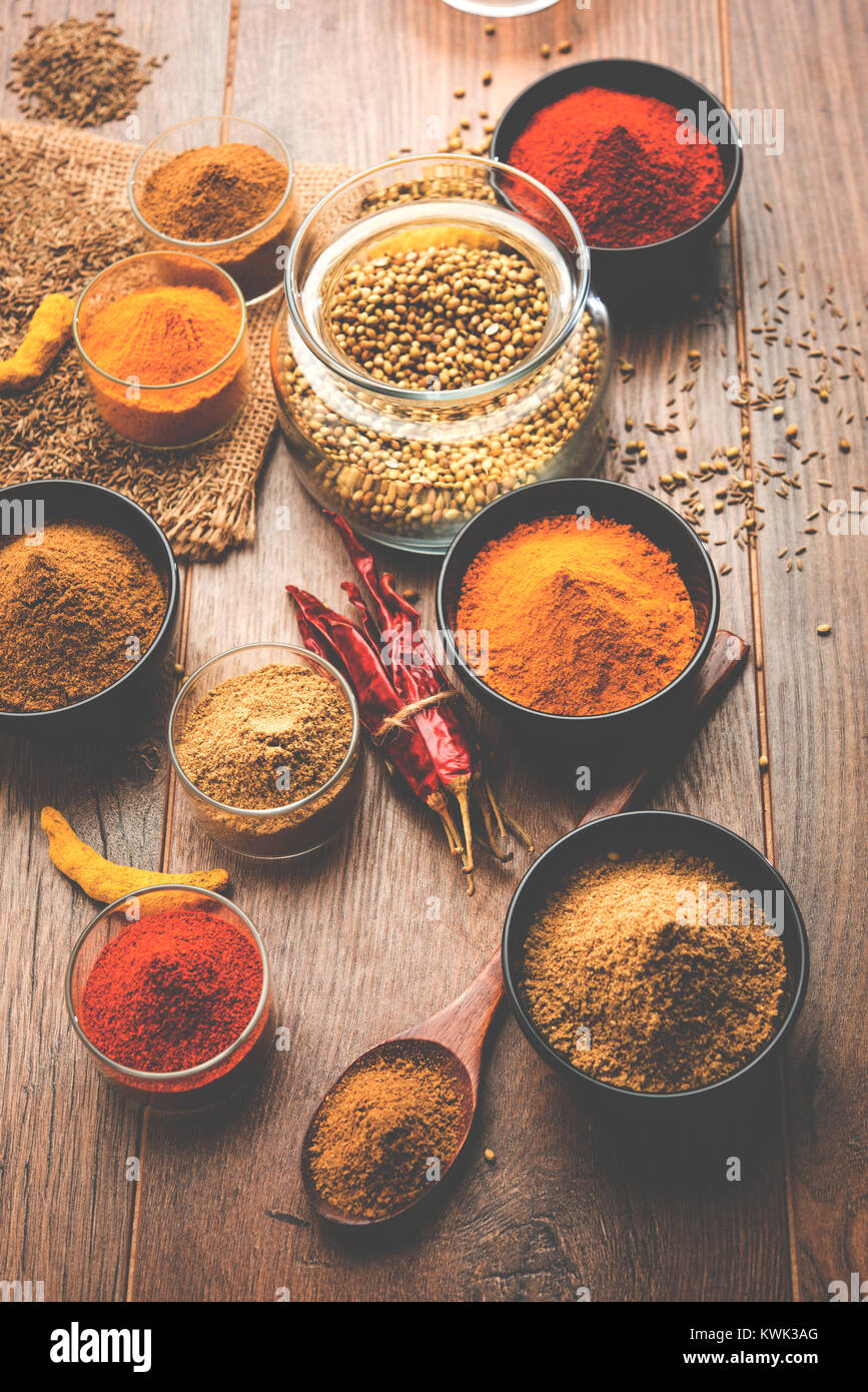 Indian colourful spices. Group photo of four basic Indian spices like raw red chilli, turmeric, coriander and cumin - Stock Image