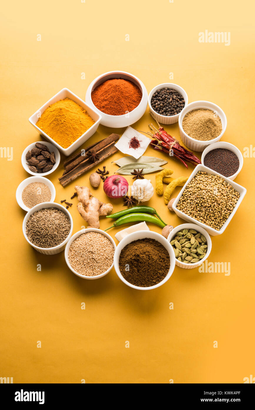 Raw Indian Spice Powder over red, green or yellow background, selective focus - Stock Image
