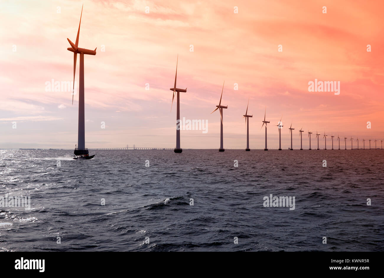 Middelgrunden Offshore Wind  Park outside Copenhagen Harbour. The Øresund Bridge to Sweden in the distance, - Stock Image