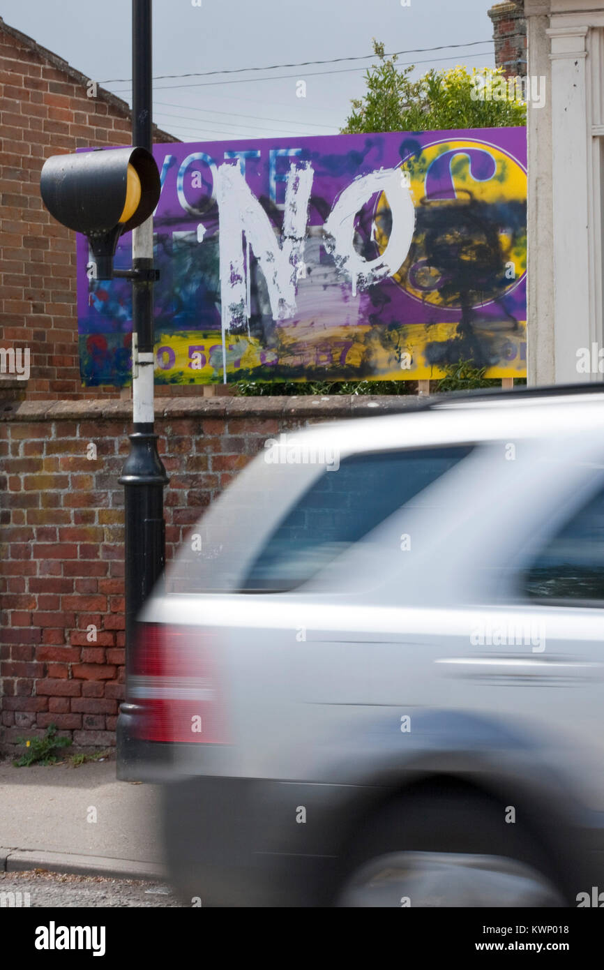 NO painted over a UKIP billboard - Stock Image